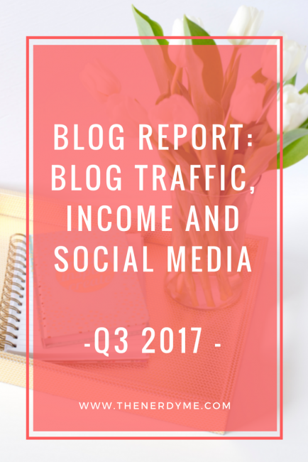 Blog Report: Blog Traffic, Social Media and Income   Q3 2017 www.thenerdyme.com