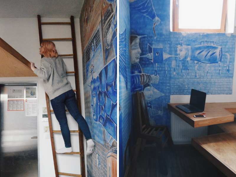 Blonde girl in hostel room