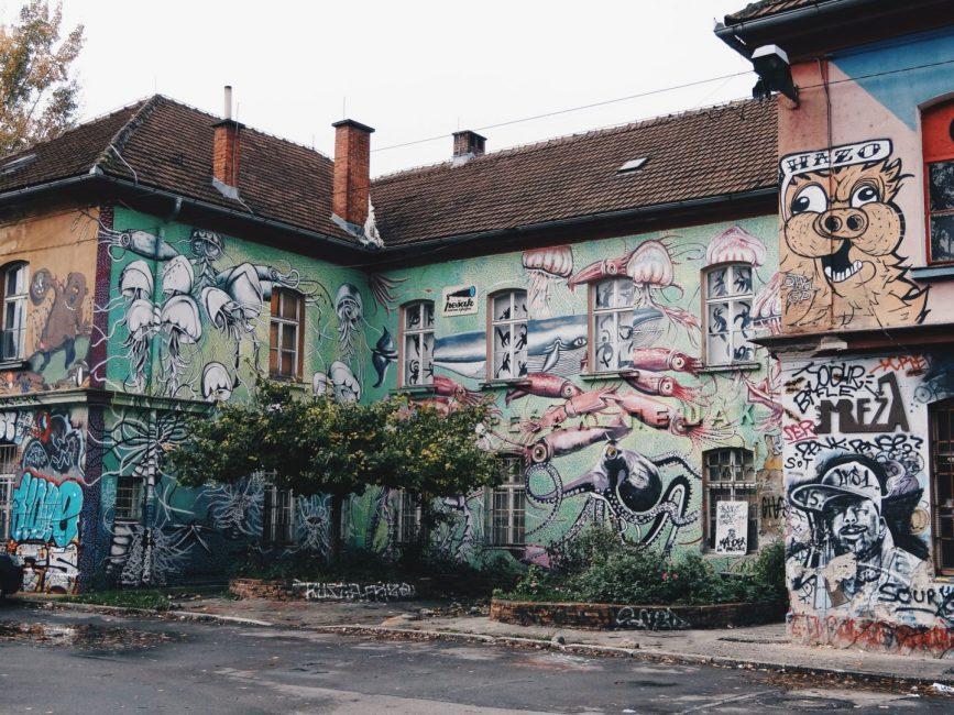 Funky Metelkova district in Ljubljana