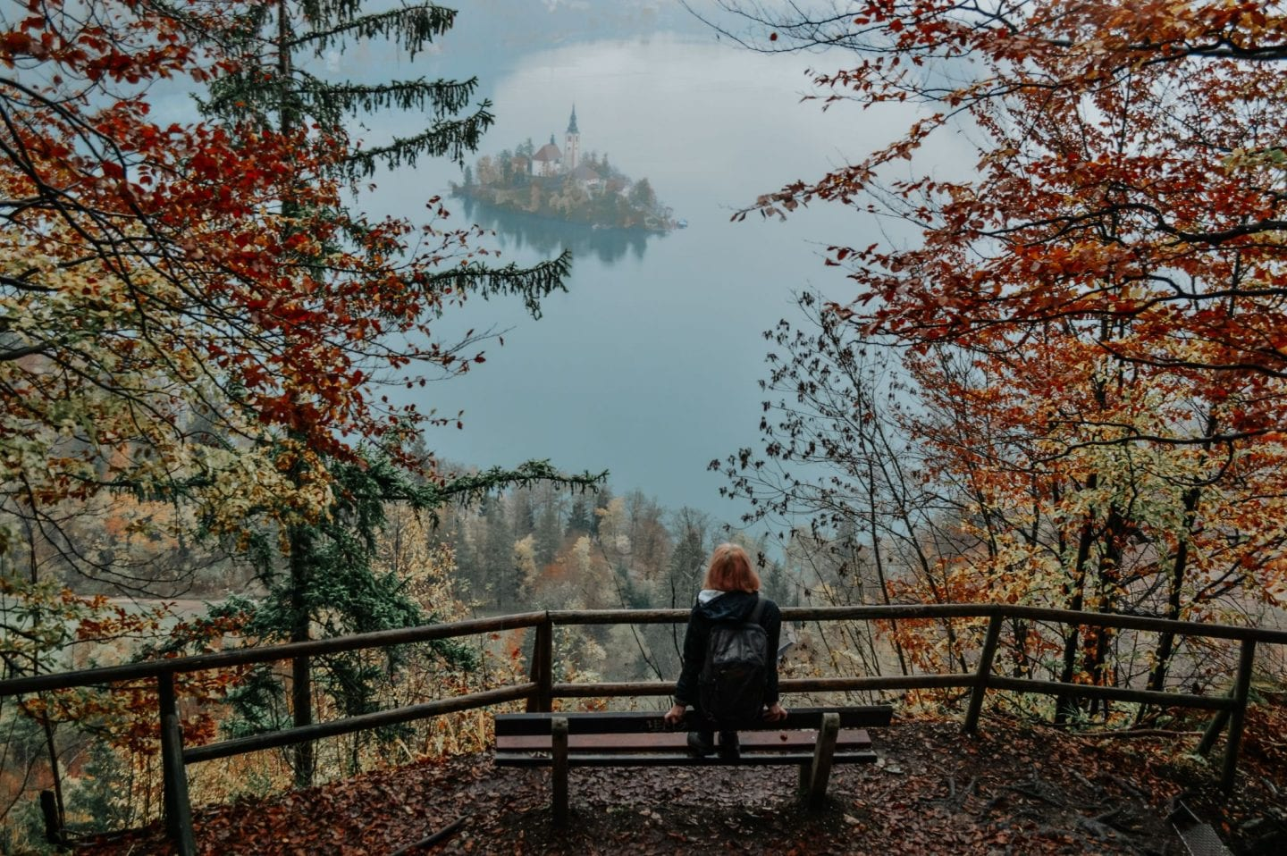 Girl on the bench near Lake Bled, Slovenia