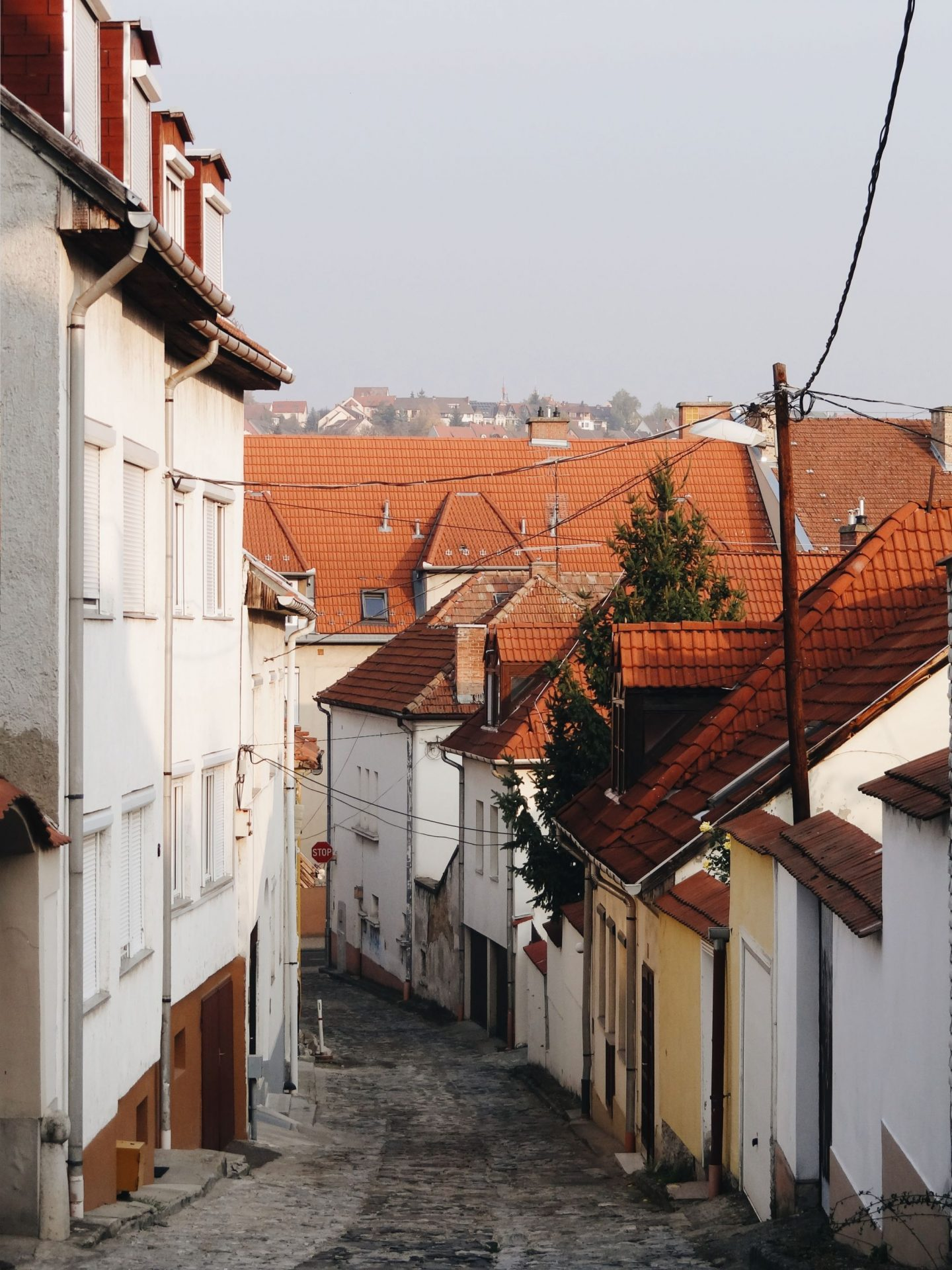 Narrow streets of Eger, Hungary