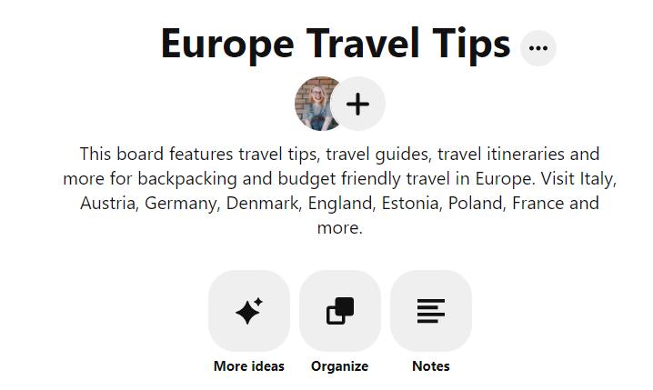 example of Pinterest board description